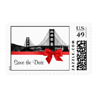 San Franciso Skyline Etched BW Red Save The Date Postage Stamps