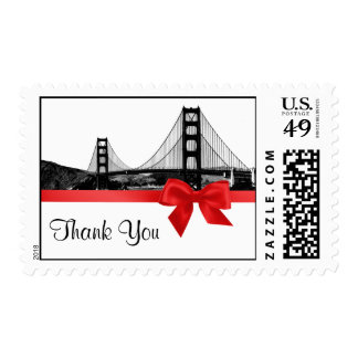 San Franciso Skyline Etched BW Red Thank You Postage Stamps