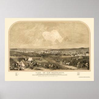 San Francsico, CA Panoramic Map - 1851 Poster