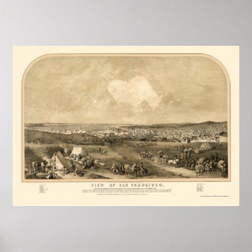San Francsico, mapa panorámico de CA - 1851 Impresiones