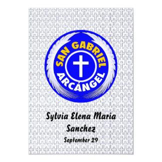 """San Gabriel Arcangel invita Invitación 5"""" X 7"""""""