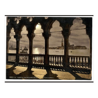 San Georgio from Doges' Palace by moonlight, Venic Postcard