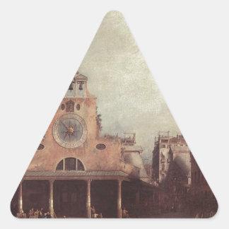 San Giacomo di Rialto by Canaletto Triangle Sticker