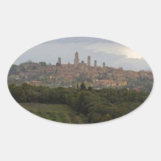 San Gimignano, Italy Oval Sticker