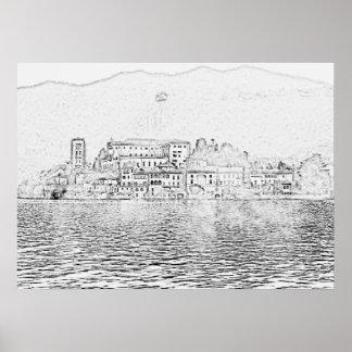 San Giulio Island, Lake Orta, Italy Poster