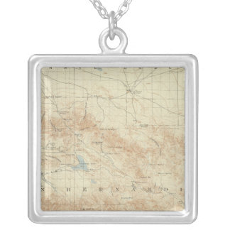 San Gorgonio quadrangle showing San Andreas Rift Silver Plated Necklace