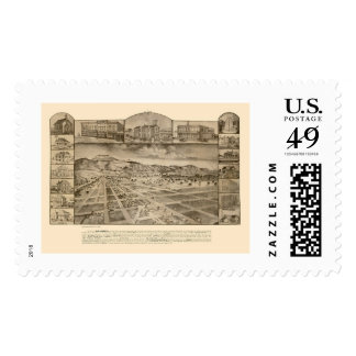San Jacinto, CA Panoramic Map - 1886 Stamp