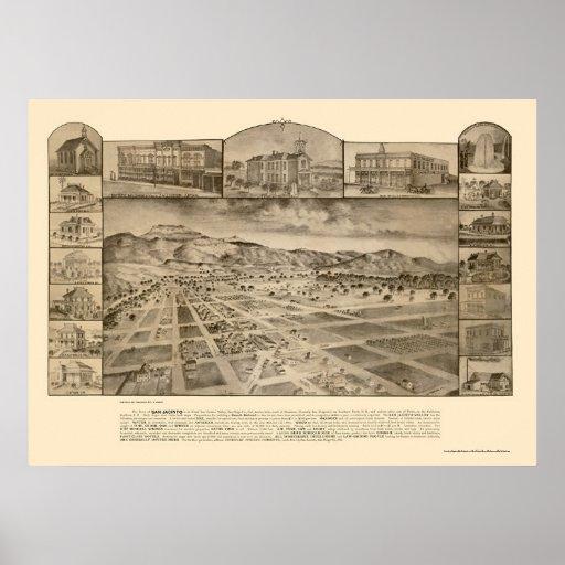 San Jacinto, mapa panorámico de CA - 1886 Posters