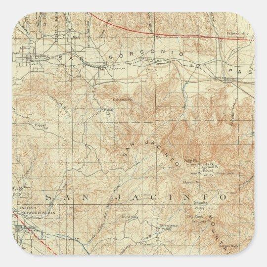 San Jacinto quadrangle showing San Andreas Rift Square Sticker