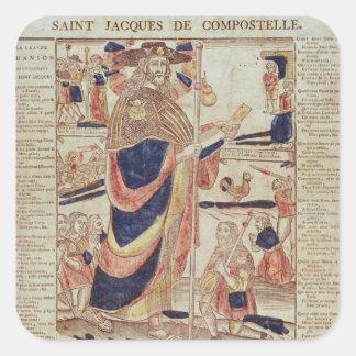 San Jaime de Compostela, c.1824 Calcomanías Cuadradas Personalizadas