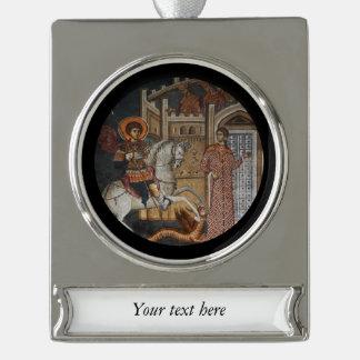 San Jorge por el castillo Rótulos De Adorno Plateado