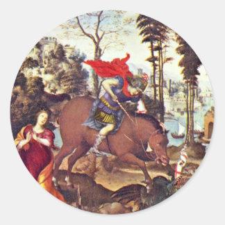 San Jorge por Sodoma (la mejor calidad) Pegatina Redonda