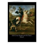 San Jorge que lucha con el dragón C de saludo Tarjeta De Felicitación