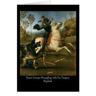 San Jorge que lucha con el dragón C de saludo Felicitaciones