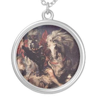 San Jorge que lucha el dragón Colgante Redondo