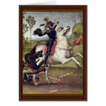 San Jorge que lucha el dragón de Raffael Tarjeta De Felicitación