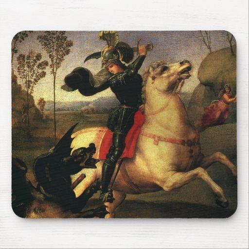 San Jorge que lucha el dragón, Raphael, Raffaello Alfombrilla De Ratón
