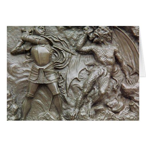 San Jorge que lucha el dragón Tarjeta De Felicitación
