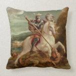 San Jorge que mata el dragón, (aceite en el panel) Cojín Decorativo