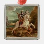 San Jorge que mata el dragón, (aceite en el panel) Adorno Cuadrado Plateado