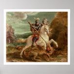 San Jorge que mata el dragón, (aceite en el panel) Póster