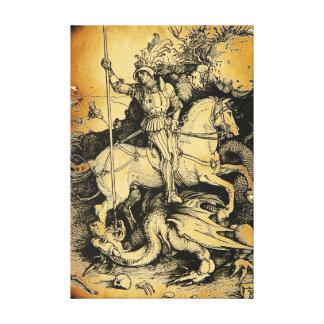SAN JORGE Y DRAGÓN, blanco negro Impresión En Lona Estirada