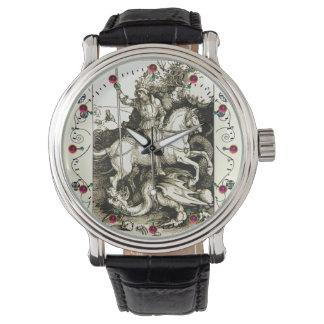 SAN JORGE Y DRAGÓN, blanco negro Relojes De Pulsera