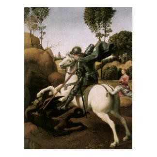 San Jorge y el dragón, bella arte de Raphael Tarjetas Postales