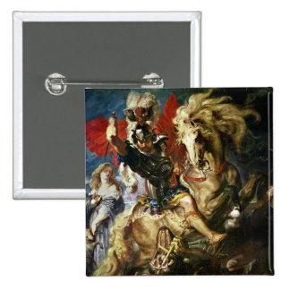 San Jorge y el dragón, c.1606 Pin Cuadrado