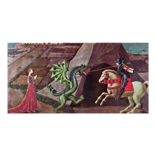San Jorge y el dragón de Uccello Pablo Tarjetas Fotográficas Personalizadas