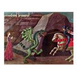 San Jorge y el dragón de Uccello Pablo Tarjeta Postal