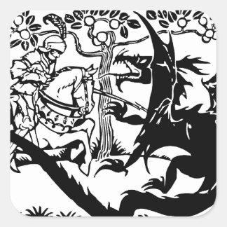 San Jorge y el dragón Pegatinas Cuadradases