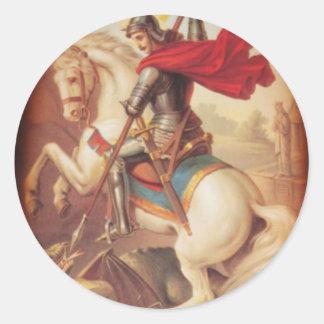 San Jorge y el dragón Etiquetas Redondas