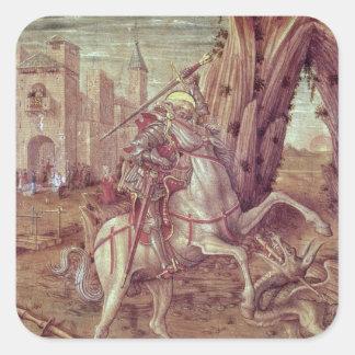 San Jorge y el dragón Pegatina Cuadrada