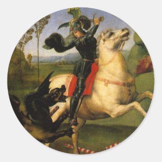 San Jorge y el dragón Pegatina Redonda