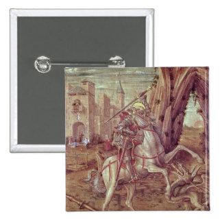 San Jorge y el dragón Pin Cuadrado