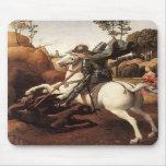 San Jorge y el dragón (Raphael) Alfombrillas De Raton