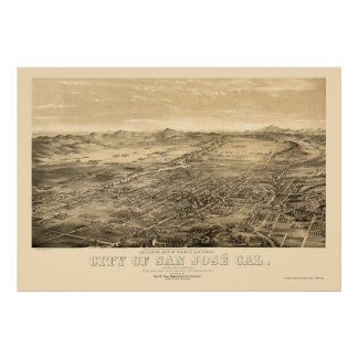 San Jose, CA Panoramic Map - 1869 Poster