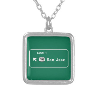 San Jose, CA Road Sign Personalized Necklace