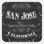 San Jose, California - capital de Silicon Valley Pegatina Cuadrada