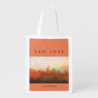 San Jose, California Skyline IN CLOUDS Grocery Bag