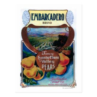 San Jose, CaliforniaEmbarcadero Pear Label Postcard
