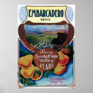 San Jose, CaliforniaEmbarcadero Pear Label Poster