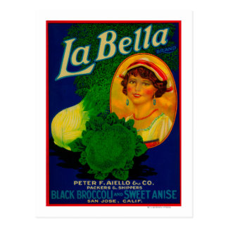 San Jose, CaliforniaLa Bella Vegetable Label Postcard