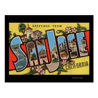 San Jose, CaliforniaLarge Letter Scenes Post Card