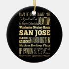 San Jose City of California State Typography Art Ceramic Ornament