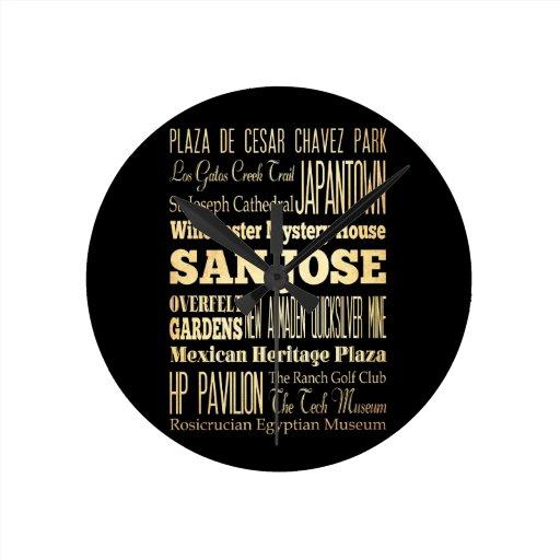 San Jose City of California State Typography Art Clock