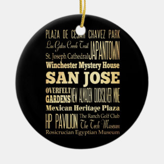 San Jose City of California State Typography Art Double-Sided Ceramic Round Christmas Ornament
