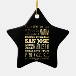 San Jose City of California State Typography Art Double-Sided Star Ceramic Christmas Ornament