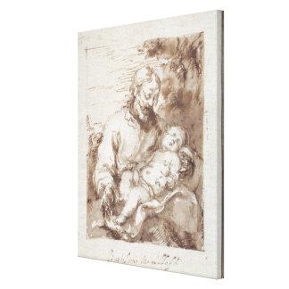 San José con el niño durmiente de Cristo (pluma y  Lienzo Envuelto Para Galerías